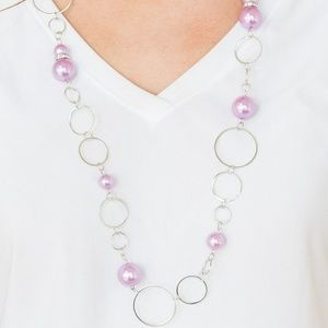 Silver Necklace with Pastel Purple Beads
